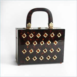 Vintage Tortoiseshell-colored Lucite Handbag