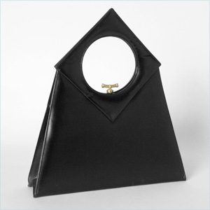 Sharp Black Leather Bag With Circle In Square Handle